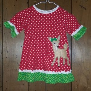 Nursery Rhyme Christmas Dress Size 18M Red w/Deer